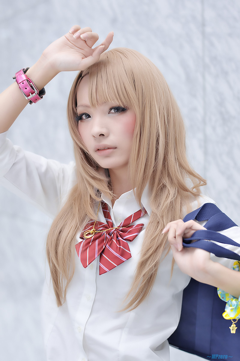 blonde hair blouse bookbag cardigan cosplay nakko school ...