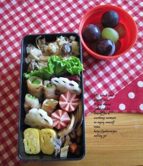 9.25 2種キノコの炊き込みご飯弁当_e0274872_22370138.jpg