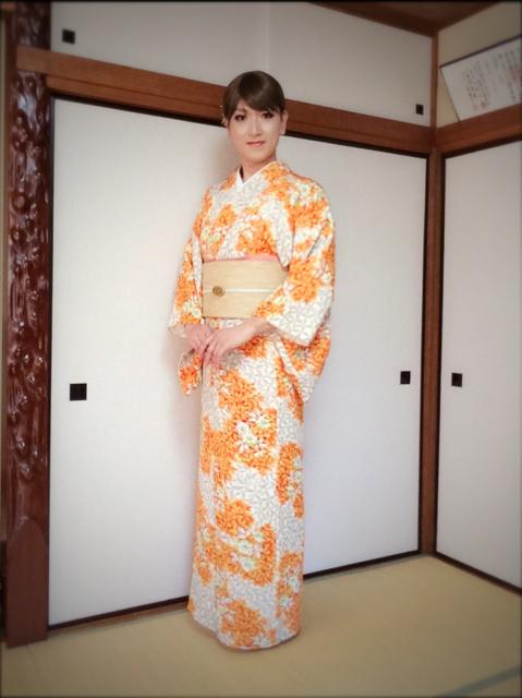 オレンジの単衣着物_f0110089_2124446.jpg