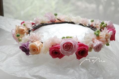 花冠 ピンクのバラで可愛く♪_a0136507_21380537.jpg