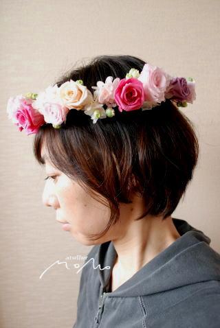 花冠 ピンクのバラで可愛く♪_a0136507_21382117.jpg