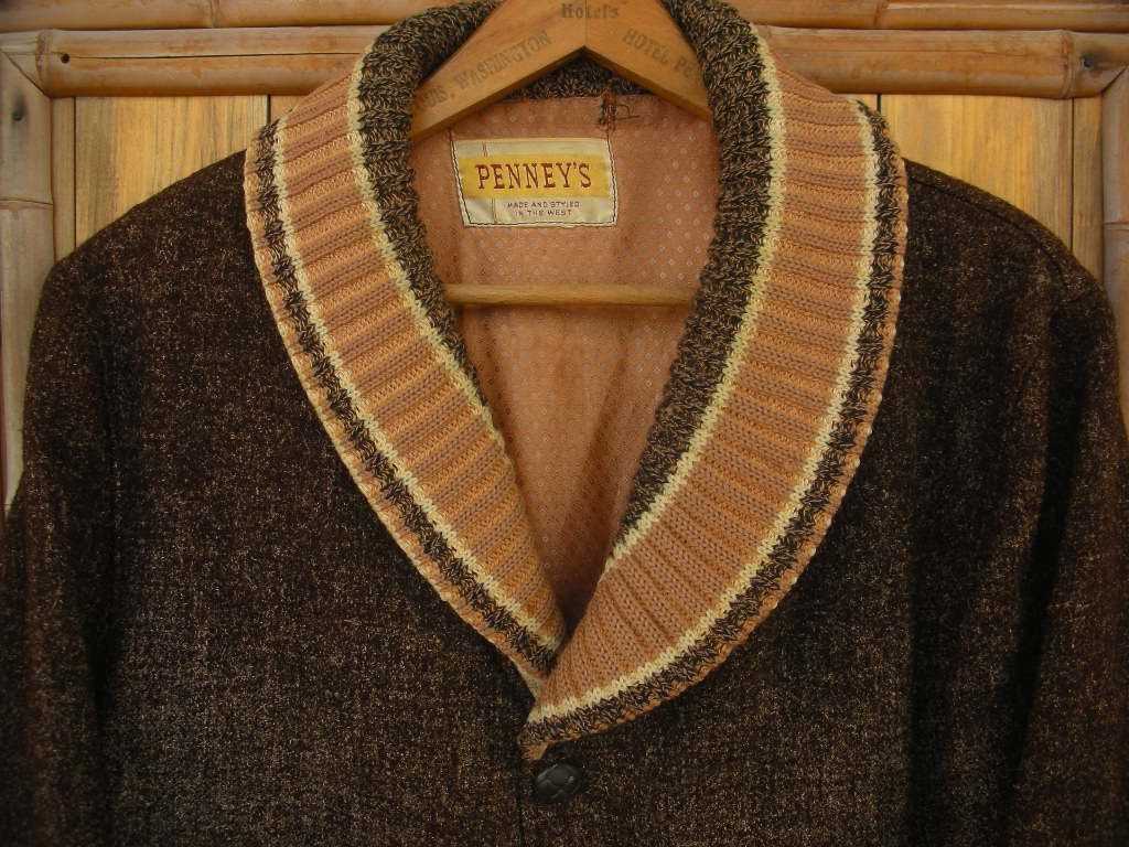 1950\'S PENNEY\'S BIG SHAWL COLLAR FLECK WOOL FARAOH COAT 詳細画像_c0187684_1804513.jpg