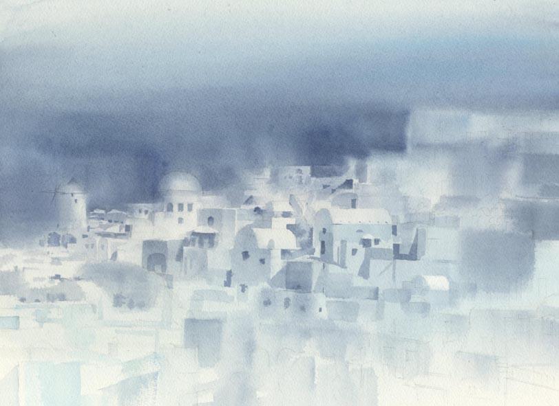 白い壁  建物の水彩画〜_f0176370_10103722.jpg