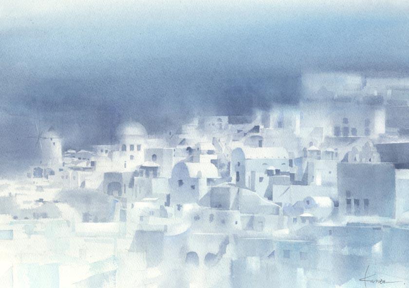白い壁  建物の水彩画〜_f0176370_10151828.jpg