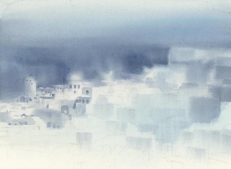 白い壁  建物の水彩画〜_f0176370_1095345.jpg