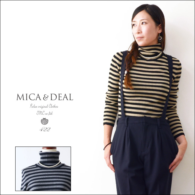 MICA&DEAL [マイカアンドディール] ボーダーリブタートル with parlneckless [M14C077] LADY\'S_f0051306_21619.jpg