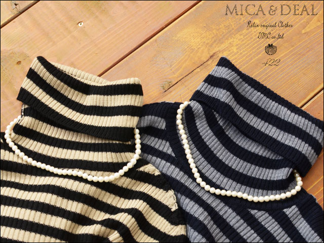 MICA&DEAL [マイカアンドディール] ボーダーリブタートル with parlneckless [M14C077] LADY\'S_f0051306_216516.jpg