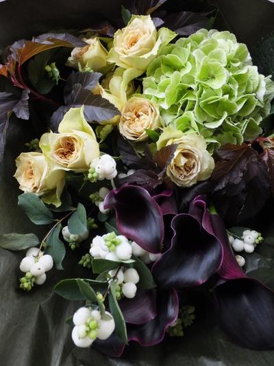 オークリーフ(カラーホットチョコレートを入れた花束)_f0049672_16575369.jpg
