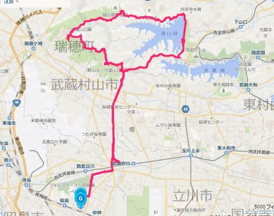 狭山湖1周ラン : 今年は4時間30...