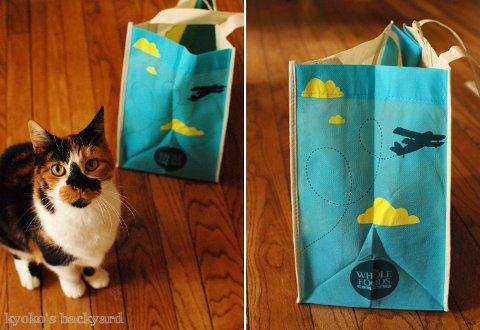 Whole Foodsのショッピングバッグ(とモデル猫)_b0253205_04293959.jpg