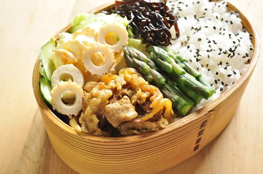 常備菜でカレー生姜焼き弁当_b0171098_816115.jpg