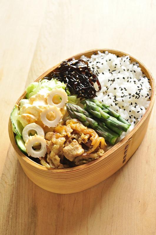 常備菜でカレー生姜焼き弁当_b0171098_873073.jpg