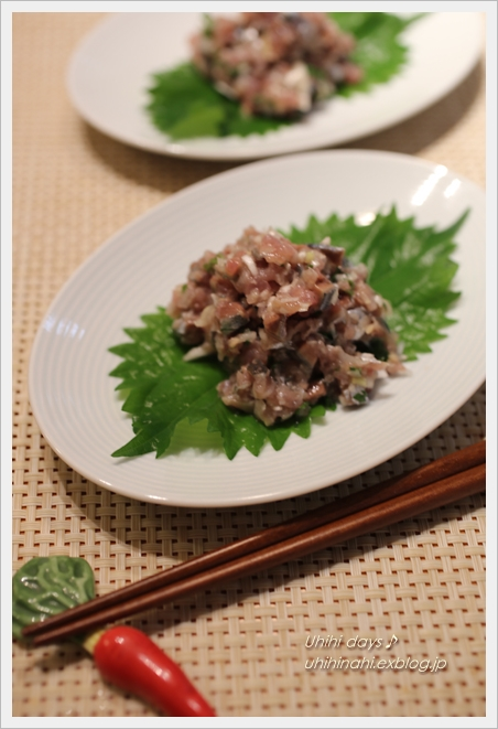 秋刀魚のなめろう塩味 と かぼちゃとししとうソーセージ炒め_f0179404_6484081.jpg