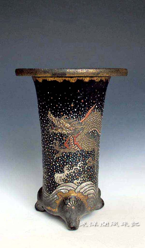京楽焼鉢「一柳と楽徳」                 No.1442_d0103457_0105551.jpg