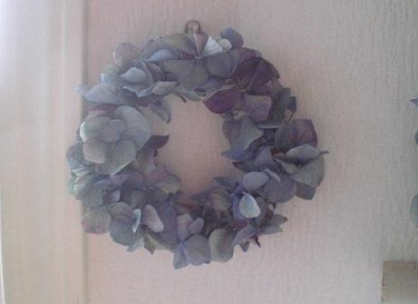 アンティークブルー紫陽花リース_c0207719_8535574.jpg
