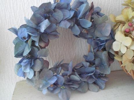 アンティークブルー紫陽花リース_c0207719_8542239.jpg