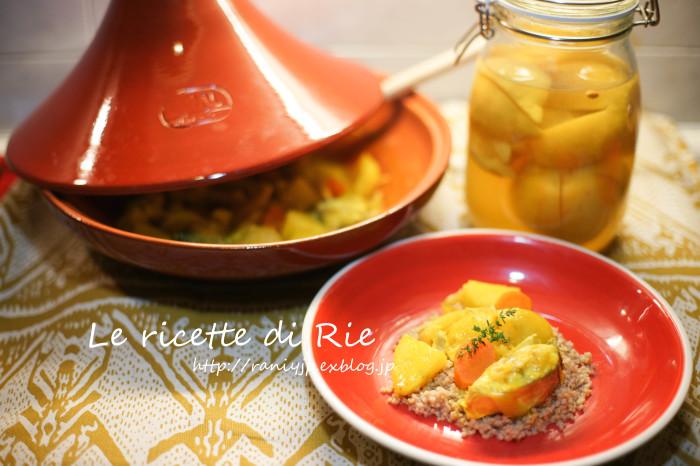 ダジン鍋で魚と野菜のクスクス ☆ Tajine di pesce e verdure con couscous_b0246303_01573966.jpg