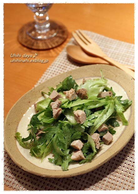 豚ひれだし〆と春菊のサラダ  と 東京国際映画祭で 『ベイマックス』_f0179404_18474966.jpg