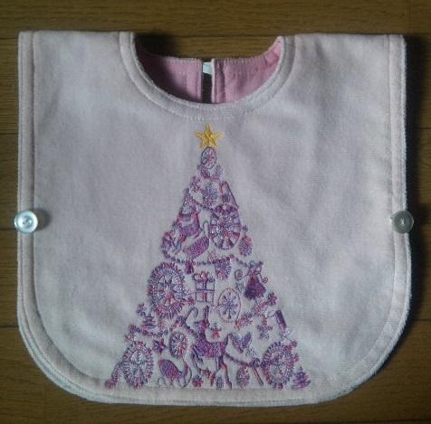 コットン段染め糸のクリスマスツリー刺繍エプロンです♪_c0316026_17361630.jpg
