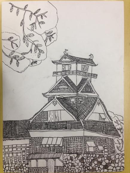熊本城を描く6年生写生大会4_c0052304_21592622.jpg