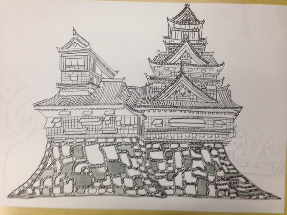 熊本城を描く6年生写生大会4_c0052304_22002078.jpg