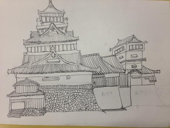 熊本城を描く6年生写生大会4_c0052304_22003419.jpg