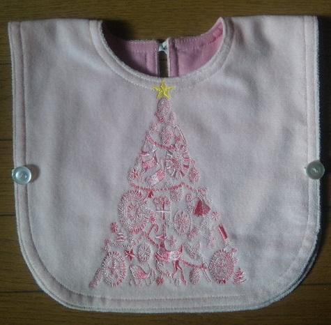 ピンクの艶々段染めツリー刺繍のエプロンです♪_c0316026_17483302.jpg