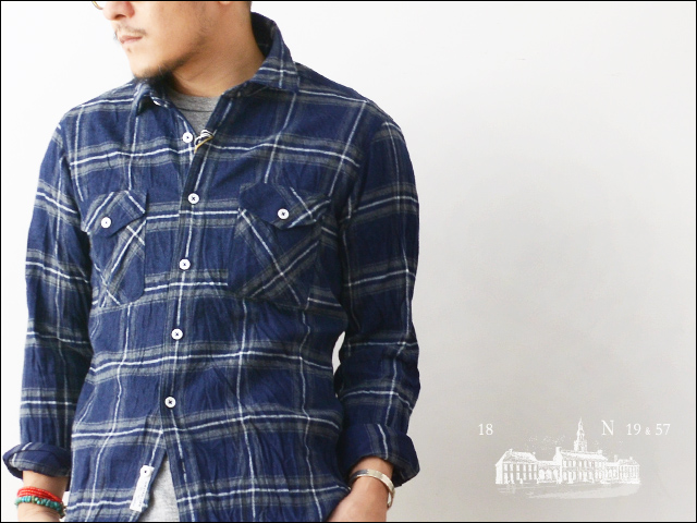 ANGLAIS [アングレー] INDIGO FLANNEL CHECK WPK SHORT REGULER WORK SHIRTS [M542019] MEN\'S_f0051306_1613781.jpg