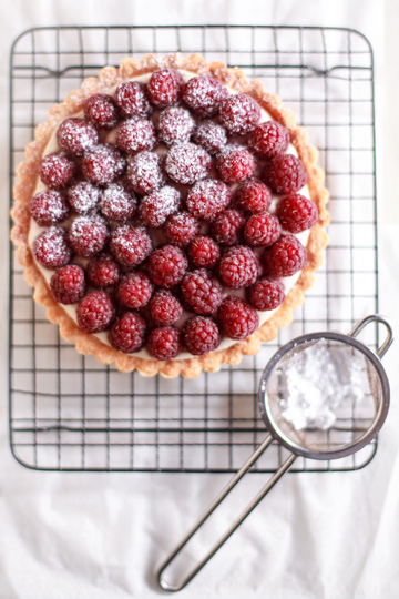 Raspberry-Earl Grey tart . A fully baked pastry shell was filled with ...