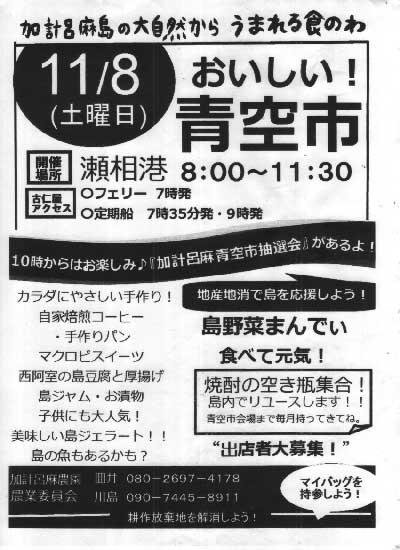 11月の『加計呂麻青空市』は、8日です!_e0028387_21264851.jpg