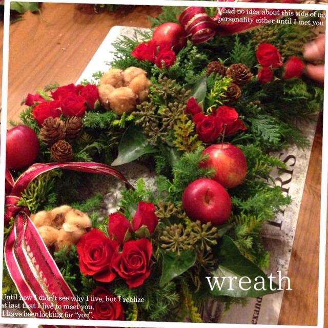 フレッシュパリのお花屋さんLessonXmasWreath_b0111306_16452618.jpg