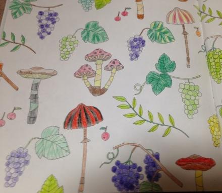 やってみました。Four Seasons かわいいものいっぱいの塗り絵ブック_c0313793_17163875.jpg