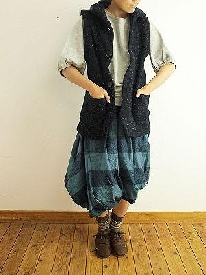 11/25 ichi イチ ウールガーゼボーダースイストバルーンスカート入荷_f0325437_14280121.jpg