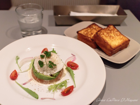 料理の風景 サーモンのタルタルとフレンチトースト_b0133053_133552.jpg