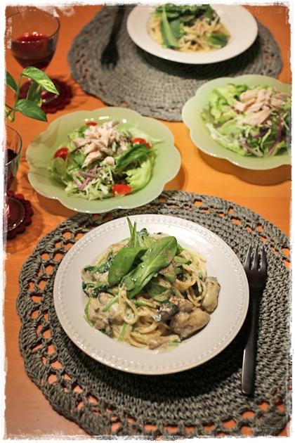 牡蠣とサラダほうれん草のクリームパスタ_f0179404_20571454.jpg