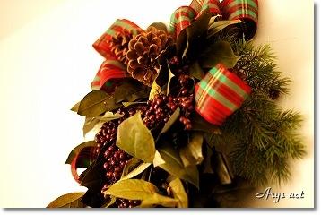 大人シックなクリスマス リース&スワッグ_c0243369_2115429.jpg