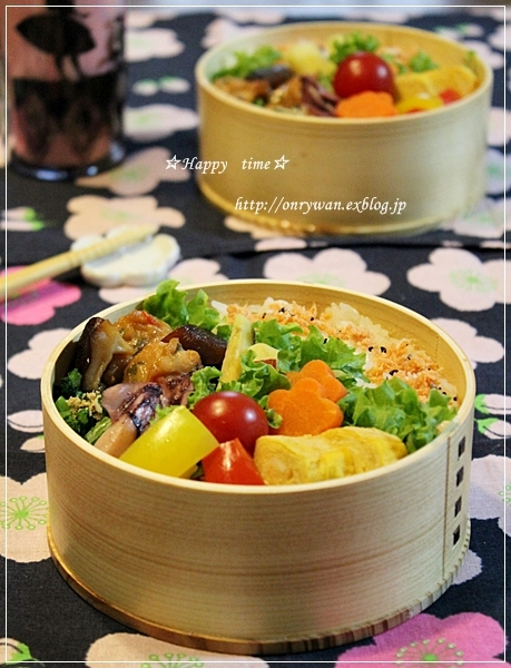 つくねと椎茸の甘辛煮弁当♪_f0348032_19095614.jpg