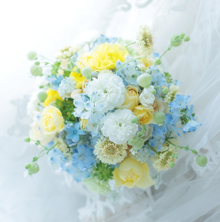 シェアブーケ 東京會舘様へ 水色と黄色で_a0042928_20122537.jpg