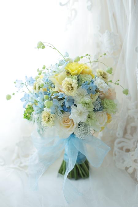 シェアブーケ 東京會舘様へ 水色と黄色で_a0042928_20124315.jpg