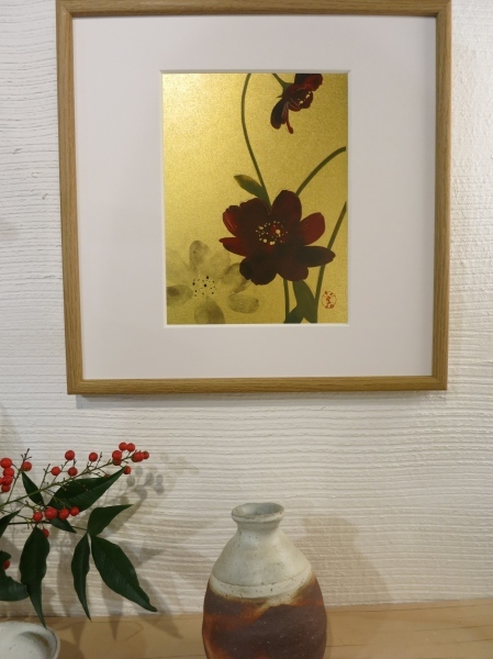 美登さんの椿とコスモス_a0197730_21584207.jpg