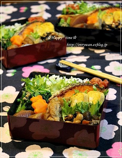 鮭弁当と寝顔♪_f0348032_19050963.jpg
