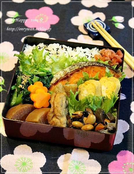 鮭弁当と寝顔♪_f0348032_19051828.jpg