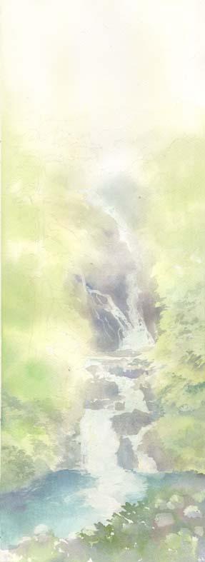 見返りの滝 水彩画 春崎陽子_f0176370_1621829.jpg