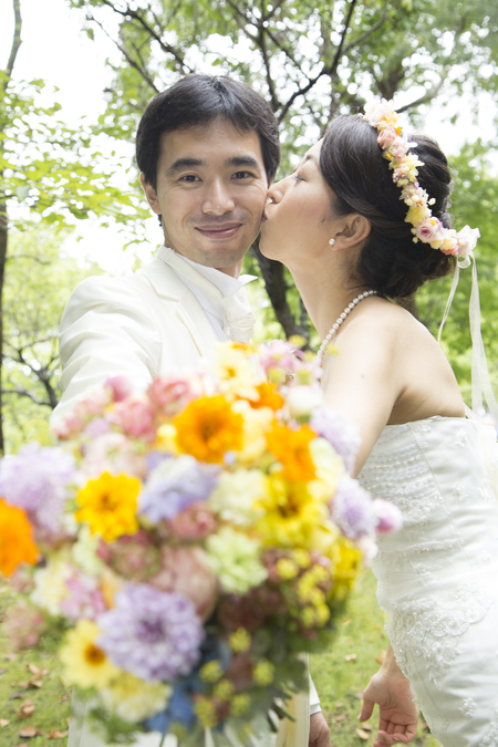 秋の装花 結婚式、楽しく過ごした一日に 雨上がり オレアジ様へ_a0042928_19101655.jpg