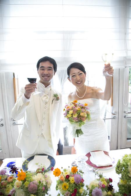 秋の装花 結婚式、楽しく過ごした一日に 雨上がり オレアジ様へ_a0042928_1922922.jpg
