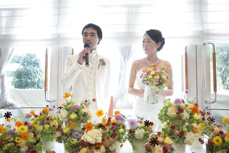 秋の装花 結婚式、楽しく過ごした一日に 雨上がり オレアジ様へ_a0042928_192994.jpg