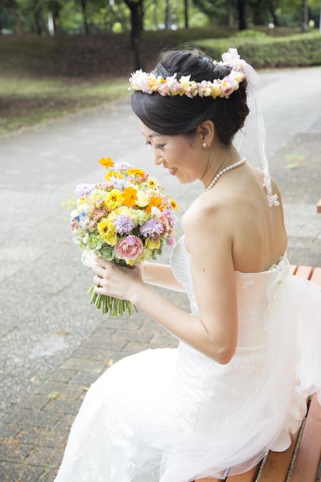 秋の装花 結婚式、楽しく過ごした一日に 雨上がり オレアジ様へ_a0042928_1971820.jpg