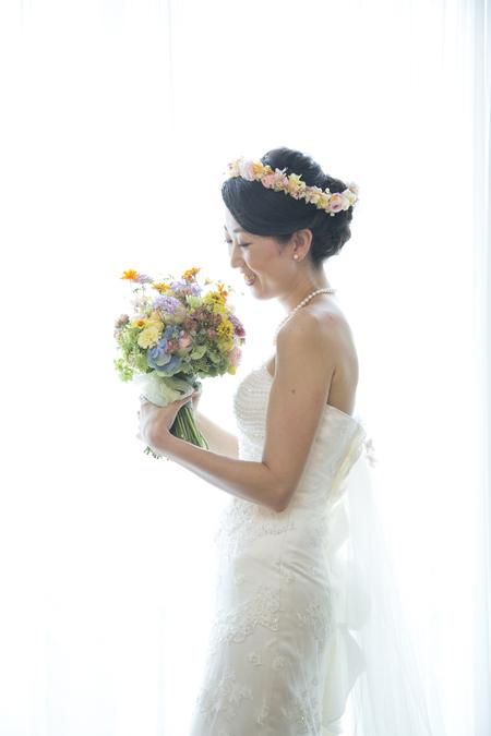 秋の装花 結婚式、楽しく過ごした一日に 雨上がり オレアジ様へ_a0042928_199539.jpg
