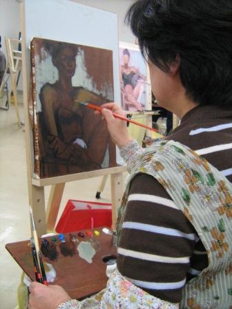 油彩人物「外人女性を描く」_f0238969_1125402.jpg