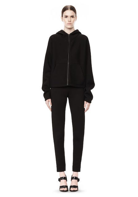 T BY ALEXANDER WANG SCUBA DOUBLE KNIT ZIP UP HOODIE WITH LEATHER TRIM_f0111683_12492122.jpg